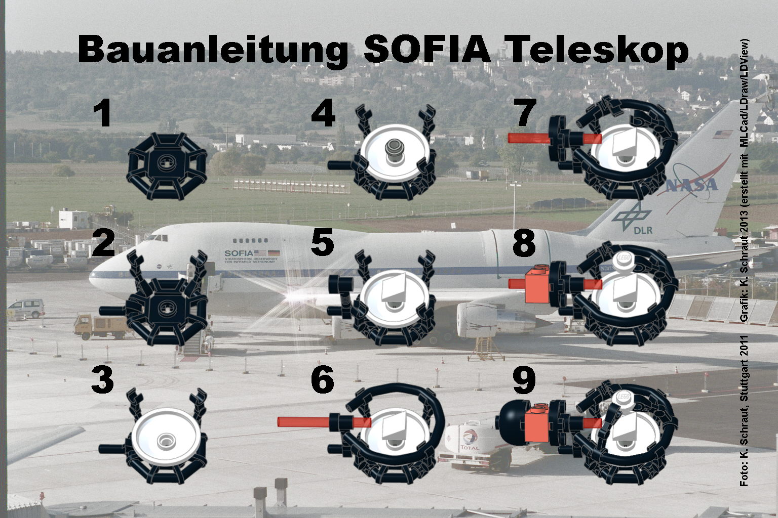 Bauanleitung für das Lego-Modell des SOFIA-Teleskops