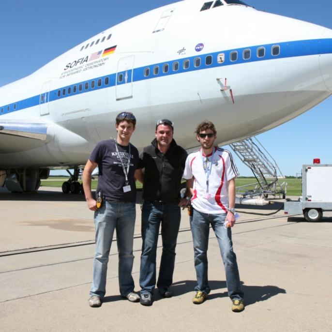 Erstflug am 26.04.2007: DSI - Mitarbeiter Ulrich Lampater, Marco Lentini und Andreas Reinacher