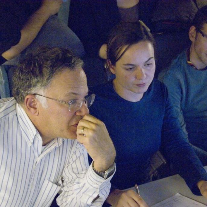 November 2008 - Teleskop erfolgreich am Boden getestet: Alan Meyer, Franziska Harms und Andreas Reinacher