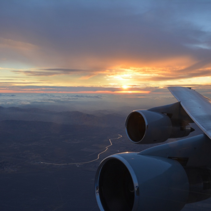 Sonnenuntergang aus SOFIA fotografiert