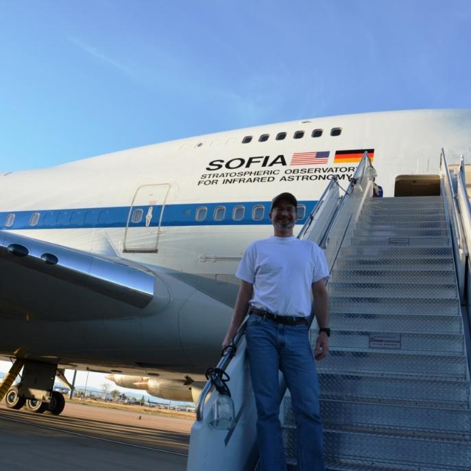 Stefan Jorda (Physikjournal) vor dem zweiten Flug; copyright @ DSI