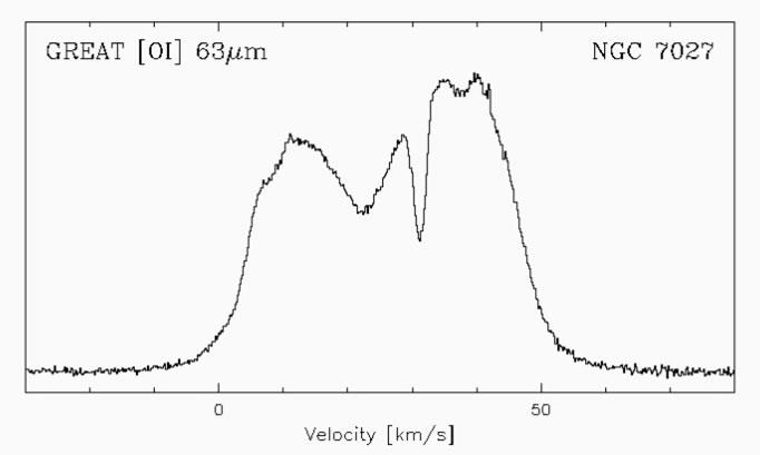 Hochaufgelöstes Sepktrum der [Oi] Linie in NGC 7027