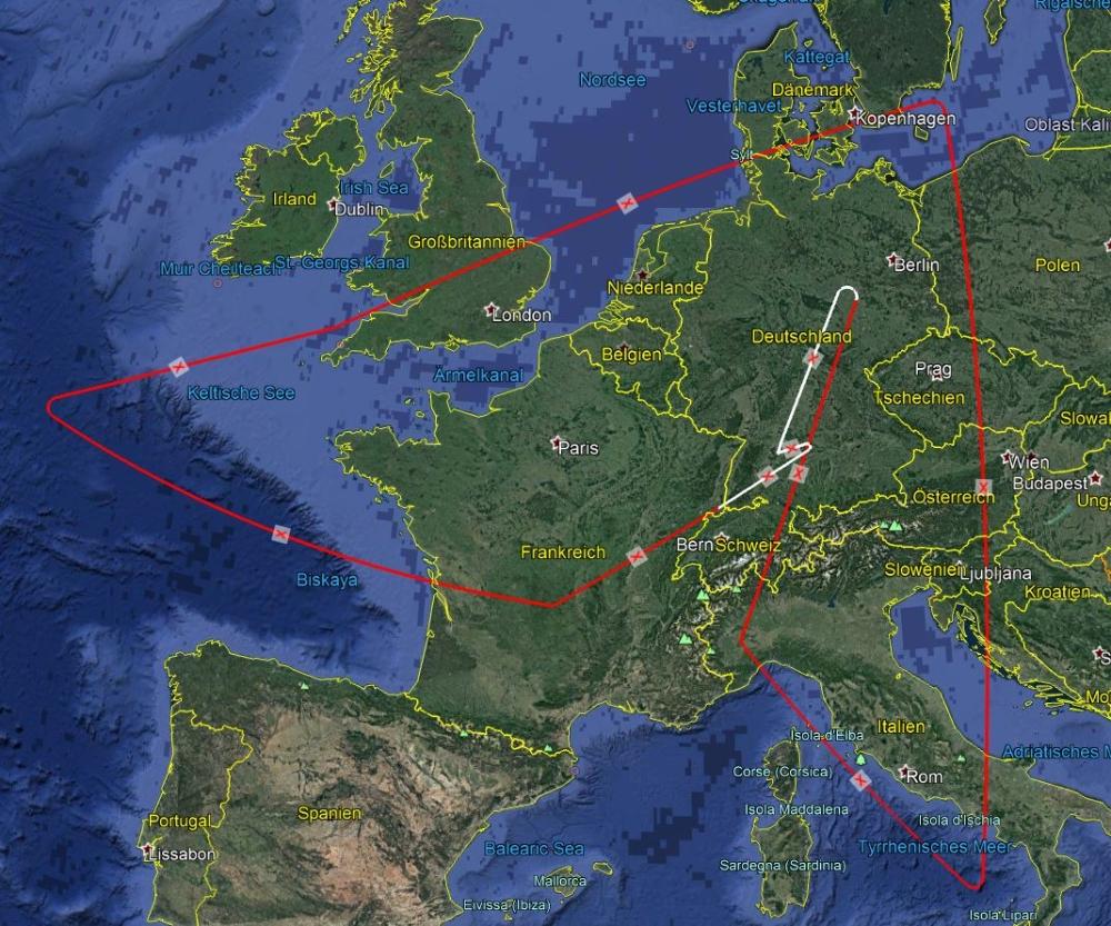 Flugroute über Europa