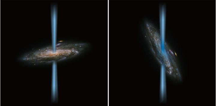 """Künstlerische Darstellung von dem Jet eines """"normalen"""" aktiven Schwarzen Lochs, der senkrecht zur Galaxie (links) steht, im Vergleich zu einem Jet, der direkt in die Galaxie (rechts) ausströmt – dargestellt in einem Bild einer Spiralgalaxie, aufgenommen vom Hubble-Weltraumteleskop."""