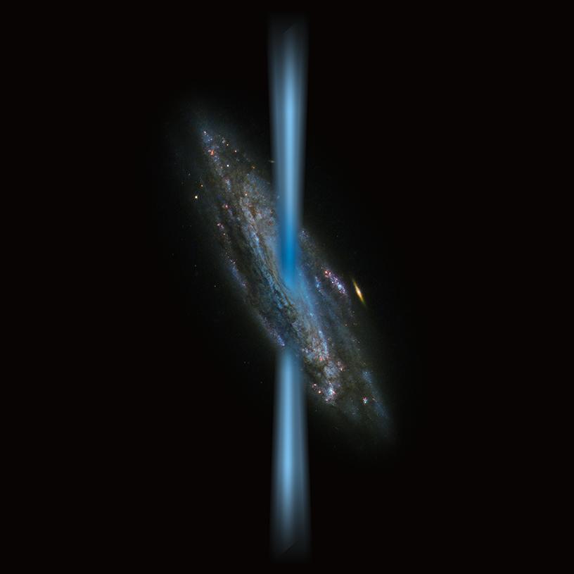 Künstlerische Darstellung von dem Jet der Galaxie HE 1353-1917