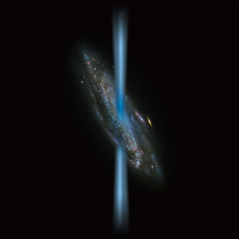 Artist's concept of a jet from an active black hole that is perpendicular to the host galaxy illustrated over an image of a spiral galaxy from the Hubble Space Telescope.