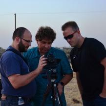 Team der Volkssternwarte Laupheim e.V.: Nikolai Prill, Michael Bischof und Rolf Stökler beim Filmen des Starts von SOFIA Antje Lischke-Weis