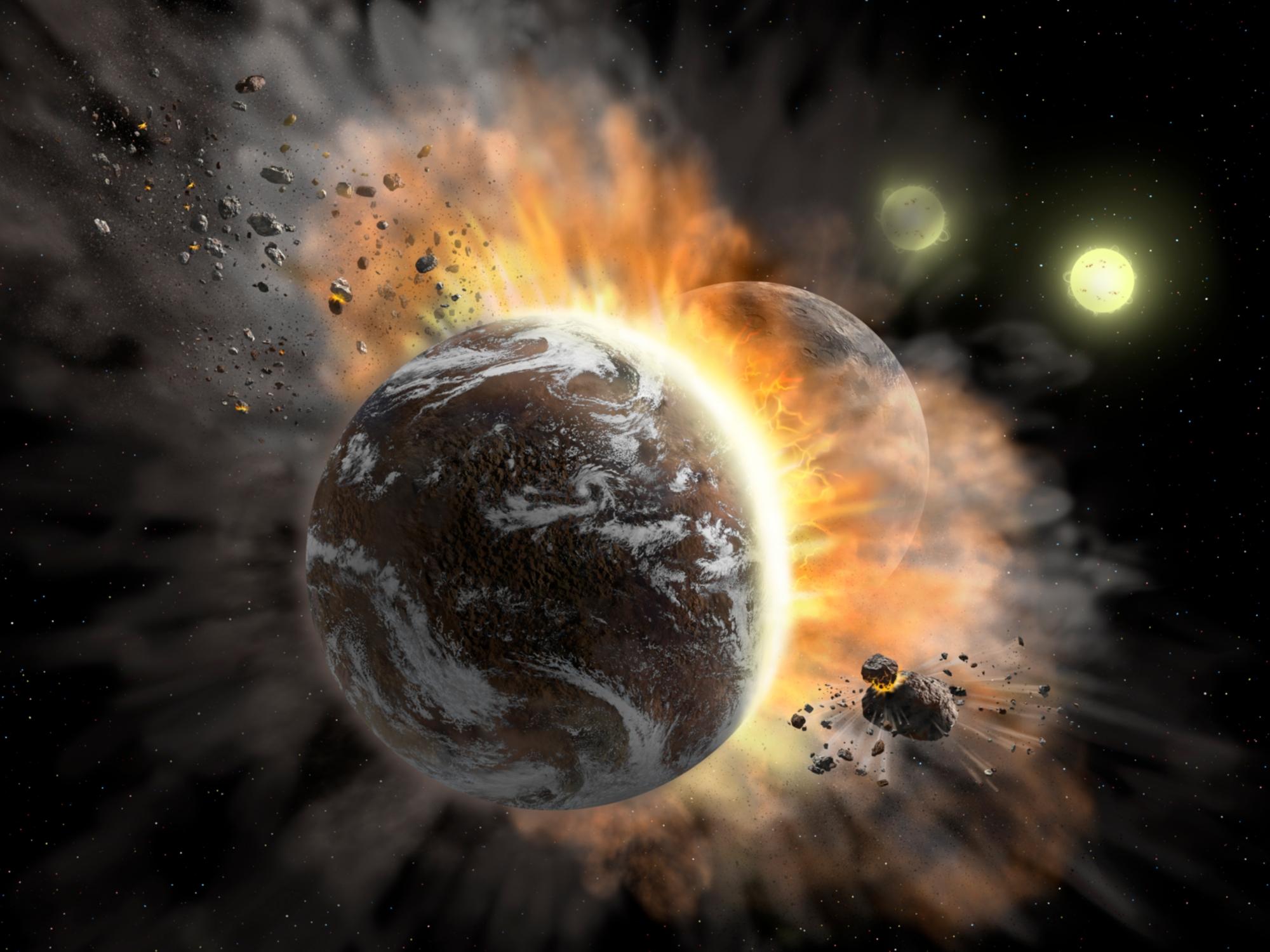 Künstlerische Darstellung des Zusammenstoßes zweier Exoplaneten