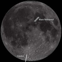 Bild des Mondes mit der Spaltlage über dem Clavius Krater und der Mare-Referenz. Honniball et al 2020