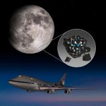Die Illustration zeigt den Clavius-Krater auf der Südhalbkugel des Mondes, in dem Spuren von molekularem Wasser (H2O) mit SOFIA nachgewiesen wurden.
