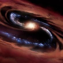 Künstlerische Darstellung der Galaxie CQ4479 in deren Zentrum ein Quasar wütet. Mit SOFIA wurde beobachtet, dass das kalte Gas (dargestellt in braun) in dieser Galaxie der enormen Strahlungsenergie dieses Quasars zumindest eine Zeit lang wiederstehen kann, so dass immer noch Sterne mit einer Rate von 100 Sonnenmassen pro Jahr entstehen (dargestellt in blau). Künstlerische Darstellung der Galaxie CQ4479 in deren Zentrum ein Quasar wütet. Mit SOFIA wurde beobachtet, dass das kalte Gas (dargestellt in braun) in dieser Galaxie der enormen Strahlungsenergie dieses Quasars zumindest eine Zeit lang wiederstehen kann, so dass immer noch Sterne mit einer Rate von 100 Sonnenmassen pro Jahr entstehen (dargestellt in blau).