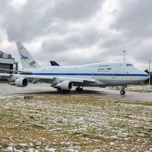 SOFIA verlässt das Lufthansa Technik in Hamburg nach abgeschlossener Wartung