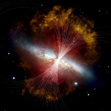 Das Magnetfeld in M 82 ist mit Linien über einem Bild der Galaxie im sichtbaren Licht vom Hubble Space Telescope und im Infraroten vom Spitzer Space Telescope dargestellt. Stellare Winde, die von heißen neuen Sternen ausgehen, bilden einen galaktischen Superwind, der Schwaden aus heißem Gas (rot) und einen riesigen Halo aus rauchigem Staub (gelb/orange) senkrecht zur dünnen galaktischen Scheibe (weiß) ausstößt.