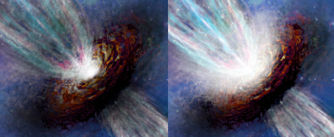 Künstlerische Darstellung von G358 vor und während des Helligkeitsausbruchs.