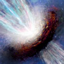 Künstlerische Darstellung eines massereichen jungen Sterns vor (links) und während (rechts) eines Helligkeitsausbruchs.