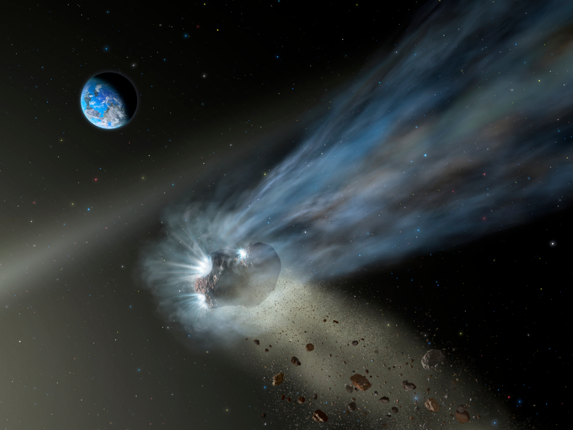 Künstlerische Darstellung eines Kometen