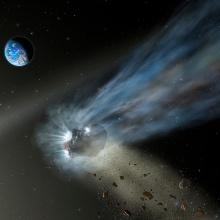 Künstlerische Darstellung eines Kometen aus der Oortschen Wolke mit seinem Gas- und Staubschweif auf dem Weg durch unser Sonnensystem.