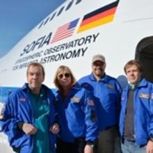 Dier vier Stratonauten kurz vor ihrem SOFIA Mitflug